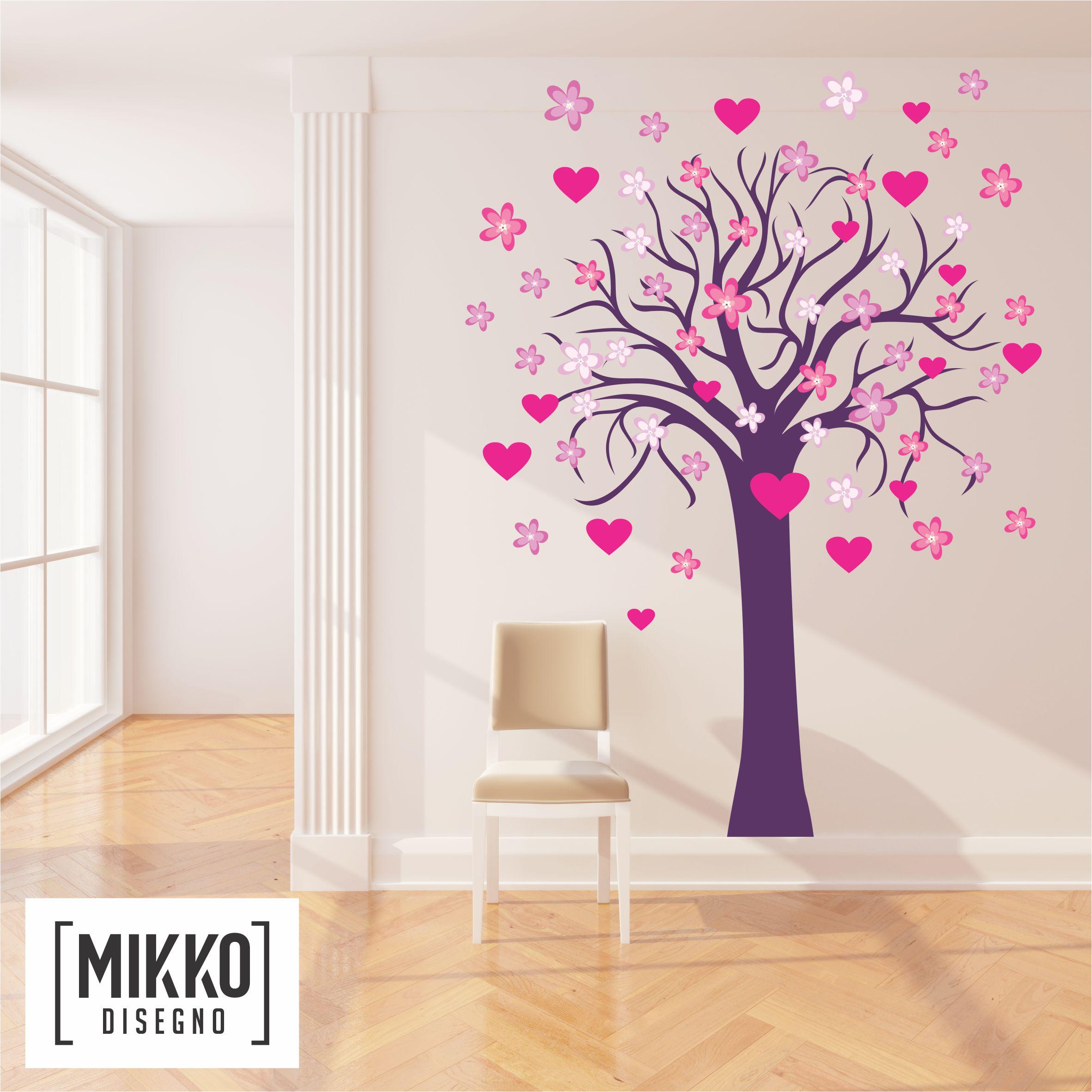 home a021 arbol con corazones y flores mikko disegno